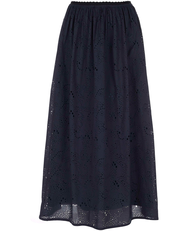 madeleine thompson navy maxi skirt in blue