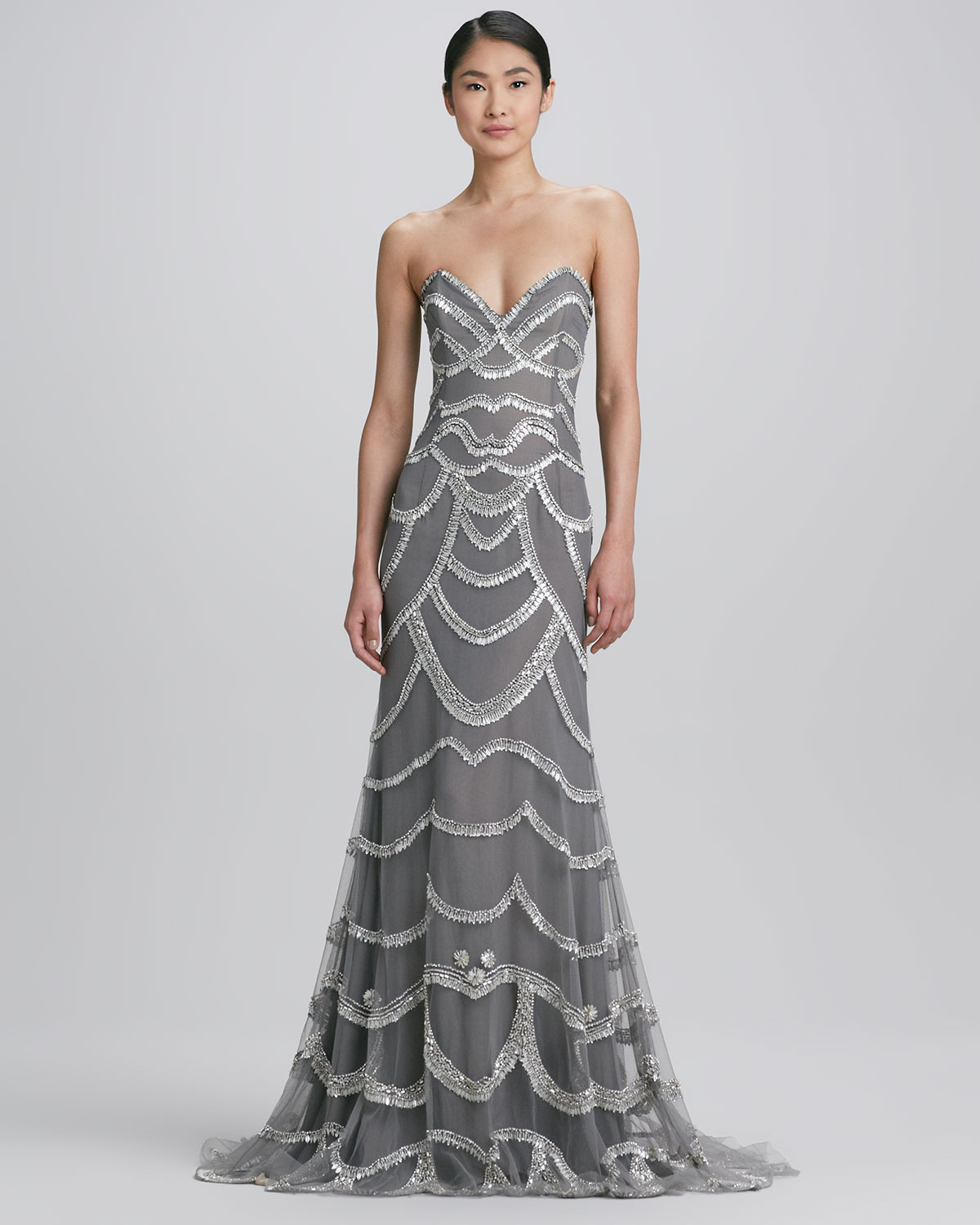 Lyst - Naeem Khan Beaded Strapless Gown in Metallic