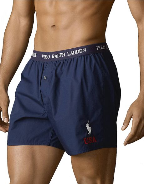 polo ralph lauren track field woven boxer shorts in blue. Black Bedroom Furniture Sets. Home Design Ideas