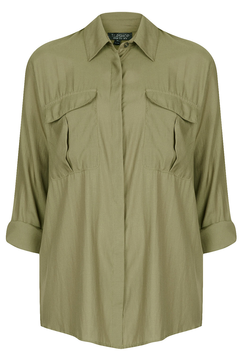 Lyst topshop casual safari shirt in natural for Womens denim shirts topshop