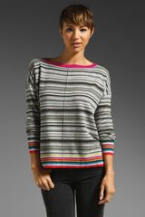 Autumn Cashmere Multi Stripe Button Back Boatneck Sweater  - Lyst