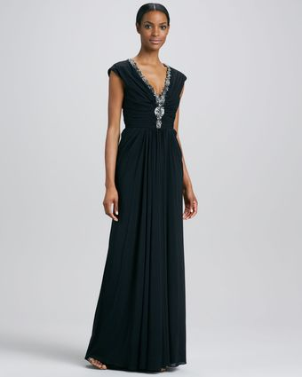 Badgley Mischka Beaded V Neck Gown - Lyst