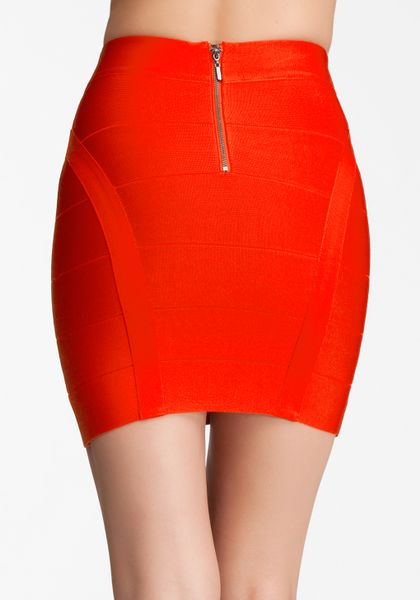 Bebe Princess Bandage Mini Skirt In Red Fiery Red Lyst