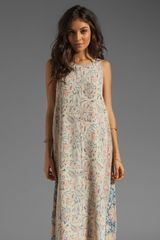 Chaser Vintage Tapestry Silk Tank Maxi Dress with Laceup Back Detailing in Beige - Lyst