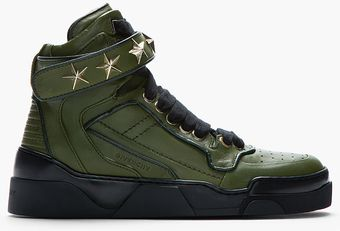 Givenchy Green Leather Staremb Ellished High Top Sneakers - Lyst
