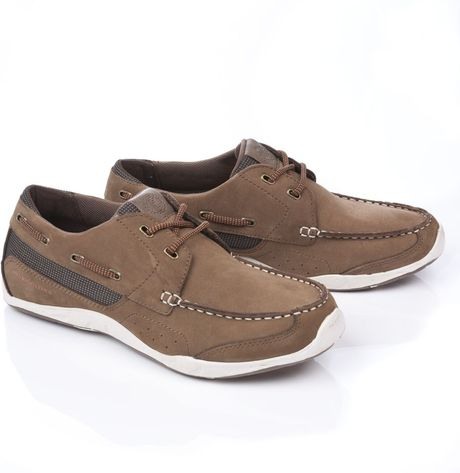 henri lloyd valencia leather deck shoe in brown for lyst
