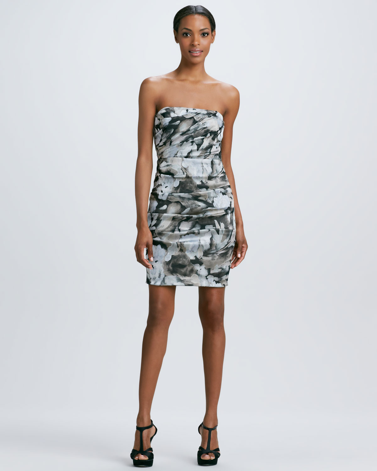 Nicole miller Strapless Floral Print Cocktail Dress in Black | Lyst