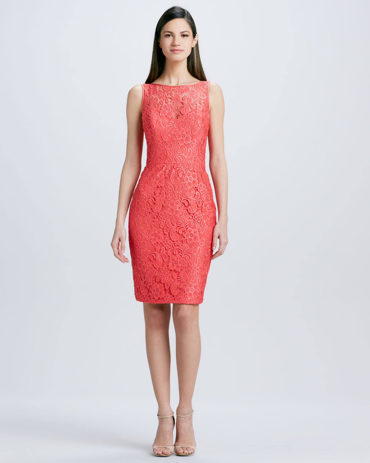 Theia Lace Cocktail Dress with Pencil Skirt in Red  Lyst