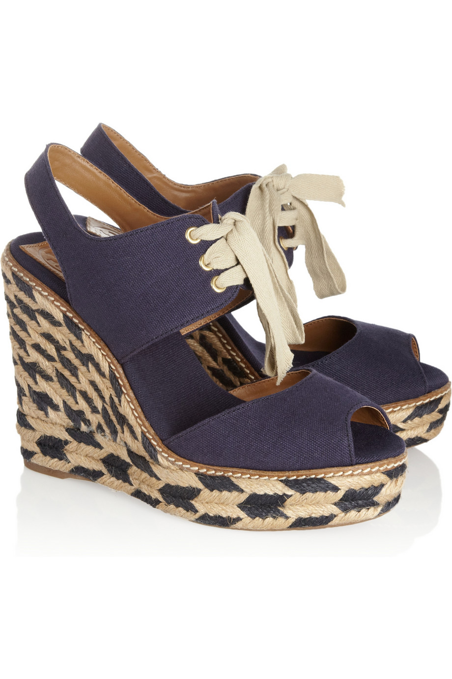 717654e44 Lyst - Tory Burch Linley Canvas Wedge Sandals in Blue