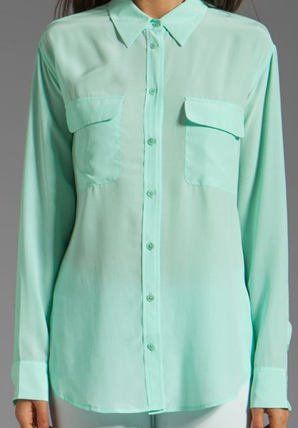 Equipment Signature Blouse Mint 82