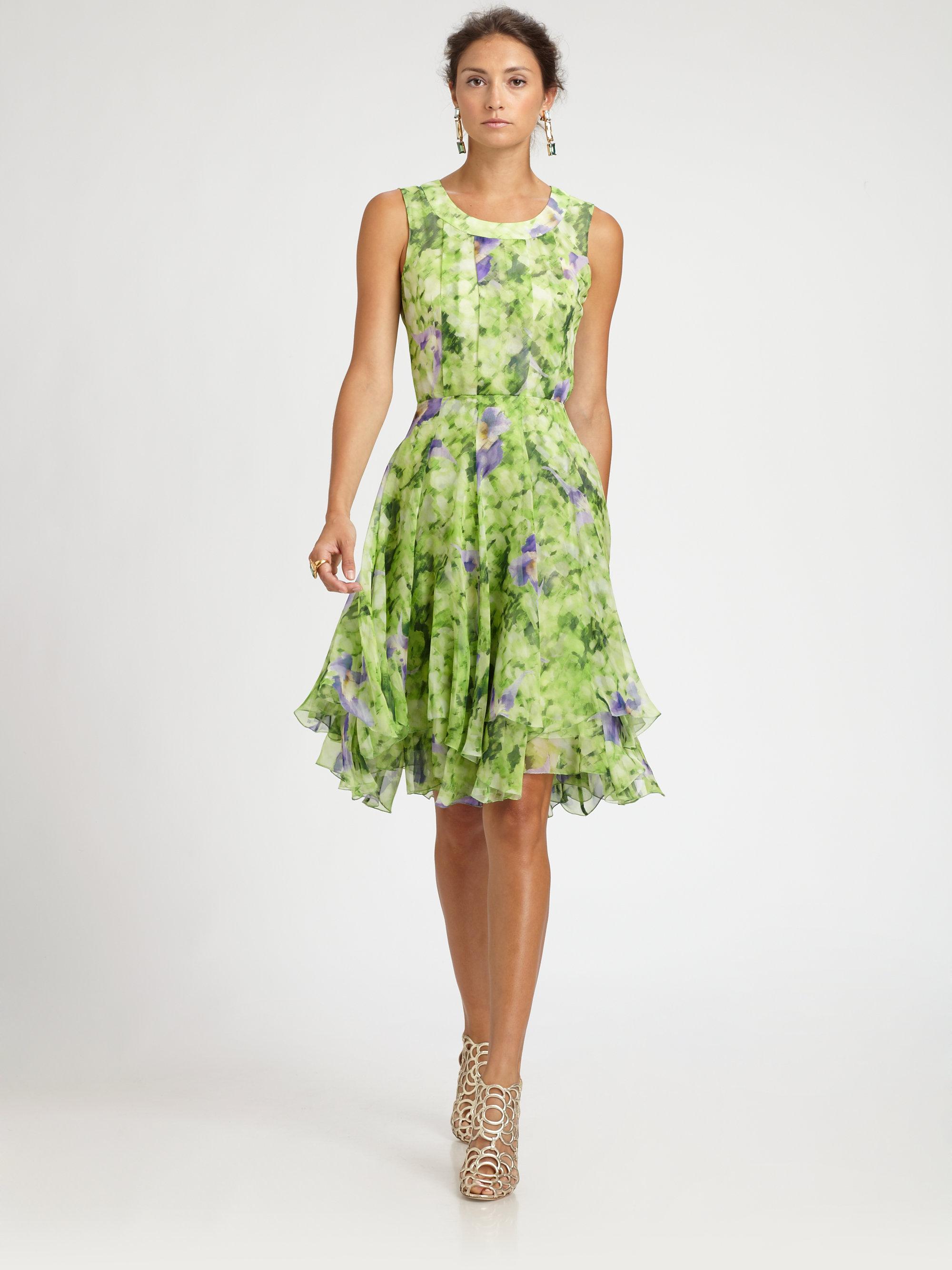 Oscar De La Renta Floral Silk Dress Lyst