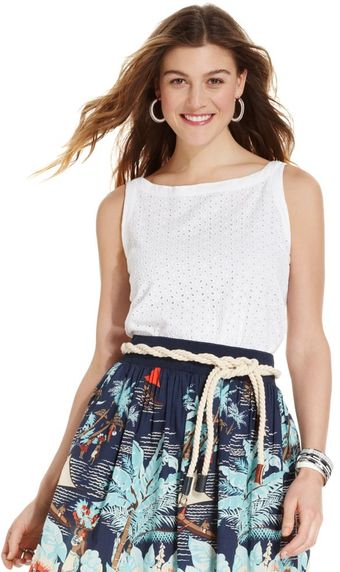 Tommy Hilfiger Sleeveless Eyeletlace Cotton - Lyst