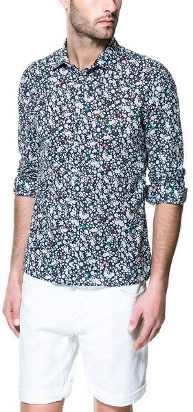 Zara mao collar shirt in blue for men navy lyst for Zara mens floral shirt