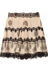 Anna Sui Laceappliquéd Printed Cotton and Silkblend Jacquard Skirt