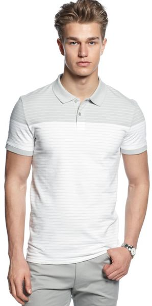 Calvin Klein Color Blocked Stripe Pique Polo Shirt - Lyst