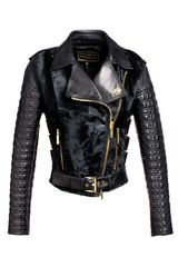 Fausto Puglisi Studded Biker Jacket with Xiangao Fur