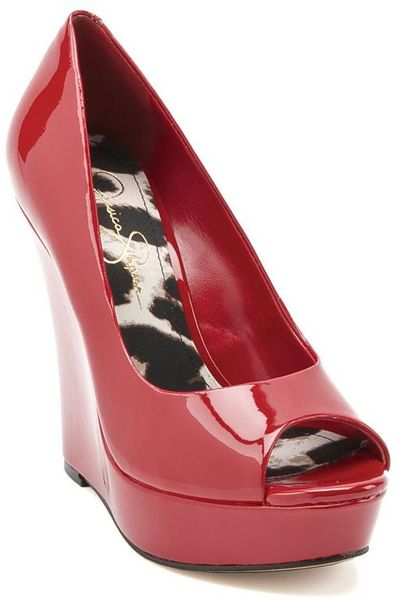 Jessica Simpson Flower Lipstick Red Patent Wedges In Red