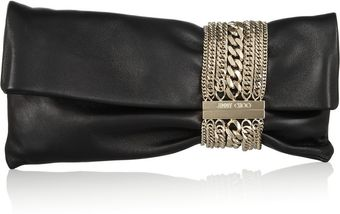 Jimmy Choo Chandra Chainembellished Leather Clutch - Lyst