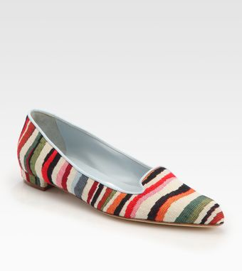 Manolo Blahnik Sharif Striped Linen Smoking Slippers - Lyst