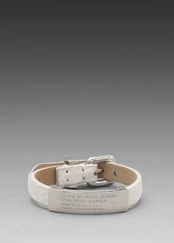 Marc By Marc Jacobs Leather Bracelets Standard Supply Id Bracelet in White - Lyst