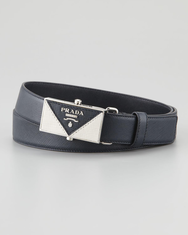 231cad8dd4d73 Lyst - Prada Saffiano Plaque Belt in Blue for Men