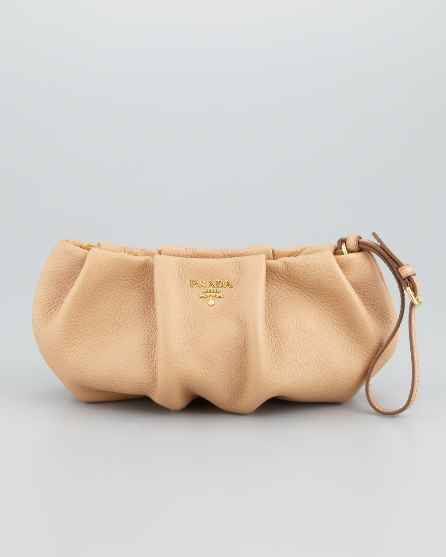Prada Daino Pleated Wristlet Clutch Bag in Pink (beige)   Lyst
