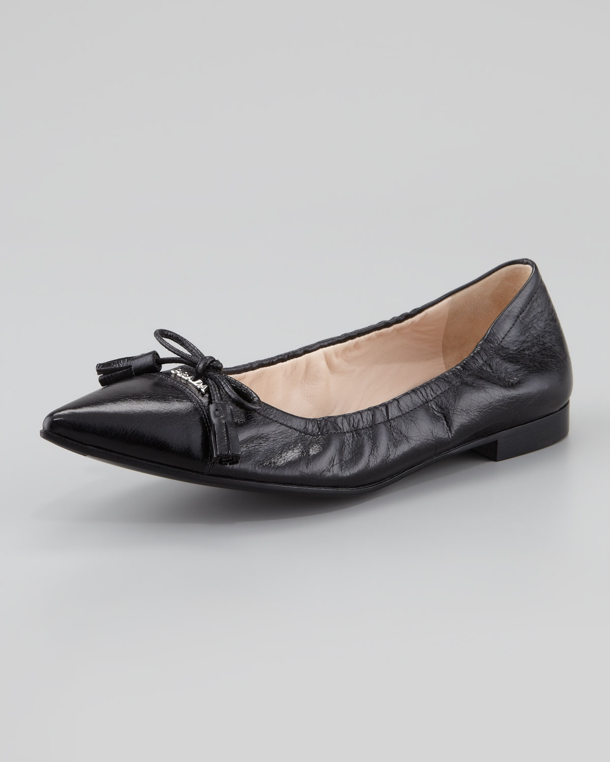 5a63d512e7 Prada Leather Tassel Pointedtoe Ballet Flat in Black - Lyst