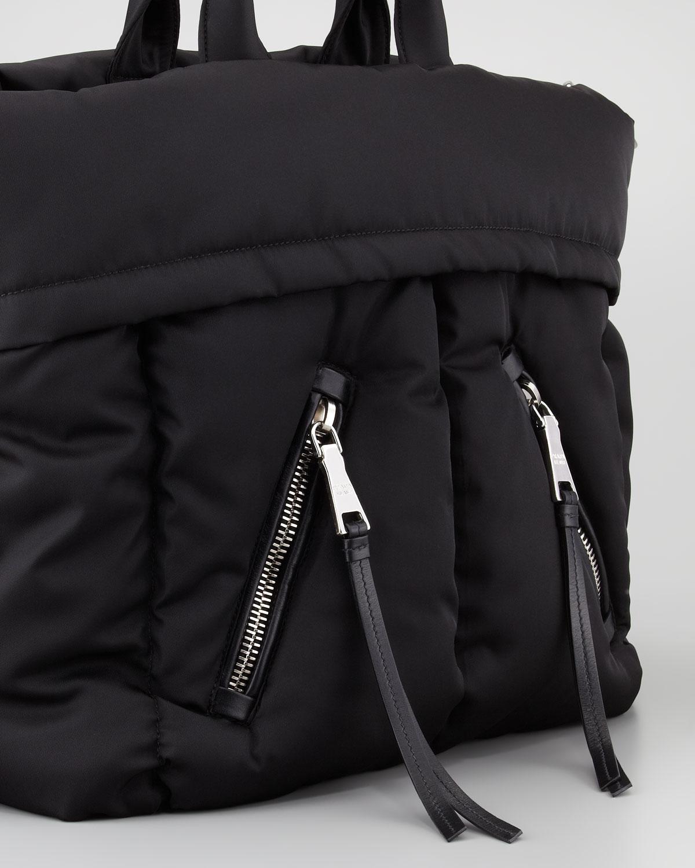 88ad1f131604 Prada Tessuto Bomber Diagonal Zip Tote Bag in Black - Lyst