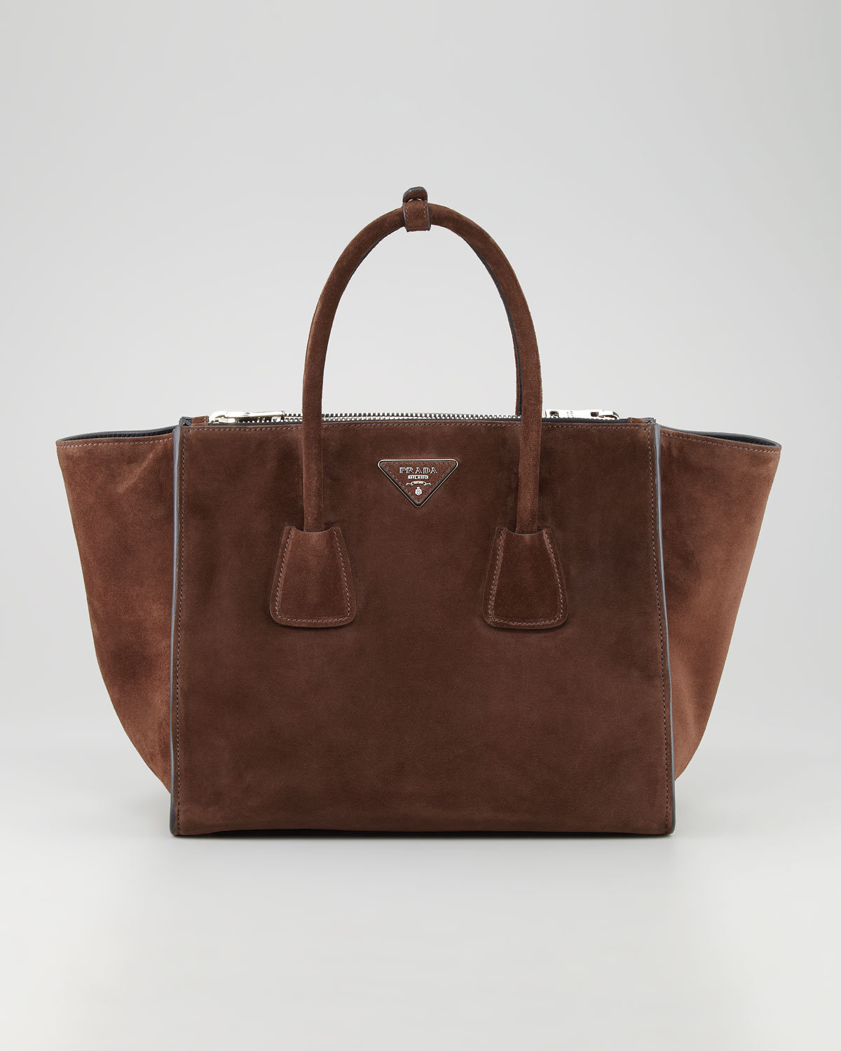 3d25db39637e Prada Suede Twin Pocket Tote Bag in Brown - Lyst