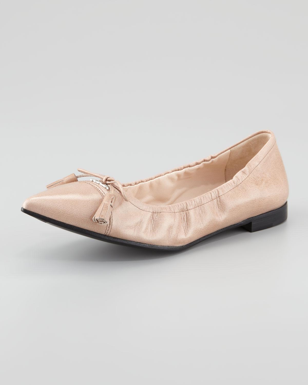 Prada Leather Tassel Pointedtoe Ballet Flat in Beige (camel) | Lyst