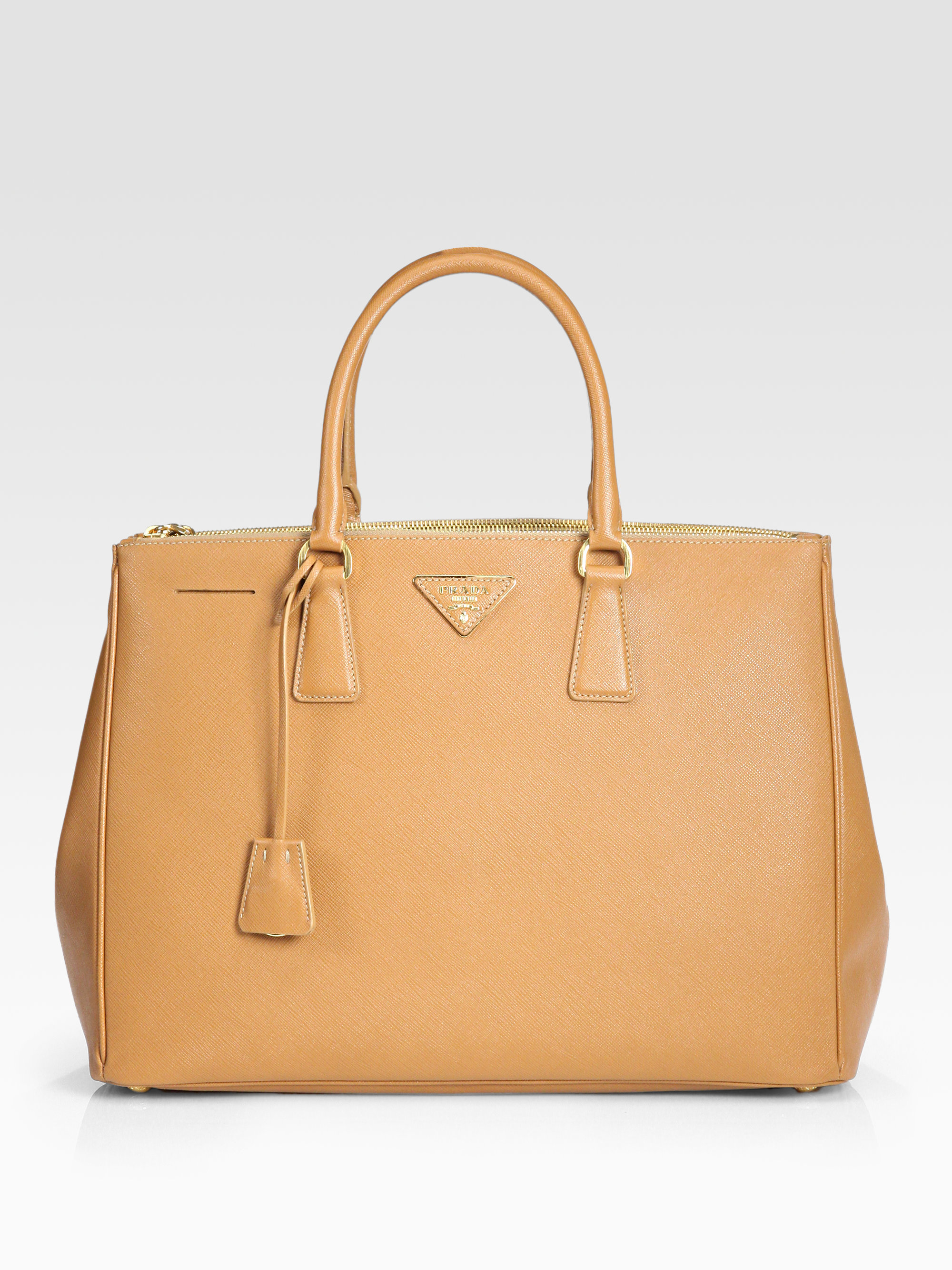 prada saffiano lux large double zip tote in brown caramel. Black Bedroom Furniture Sets. Home Design Ideas