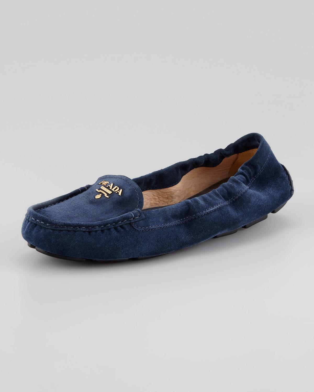 eb8bb2ddfe0 amazon prada 2da042 suede loafer mens dark blue 8dc35 6d962  france lyst  prada suede scrunch logo driver in blue c11a3 2b088
