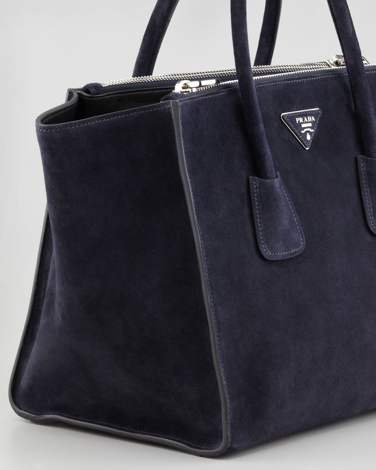 fa50910960e5c netherlands lyst prada suede twin pocket tote bag in blue 623ac 5d77b