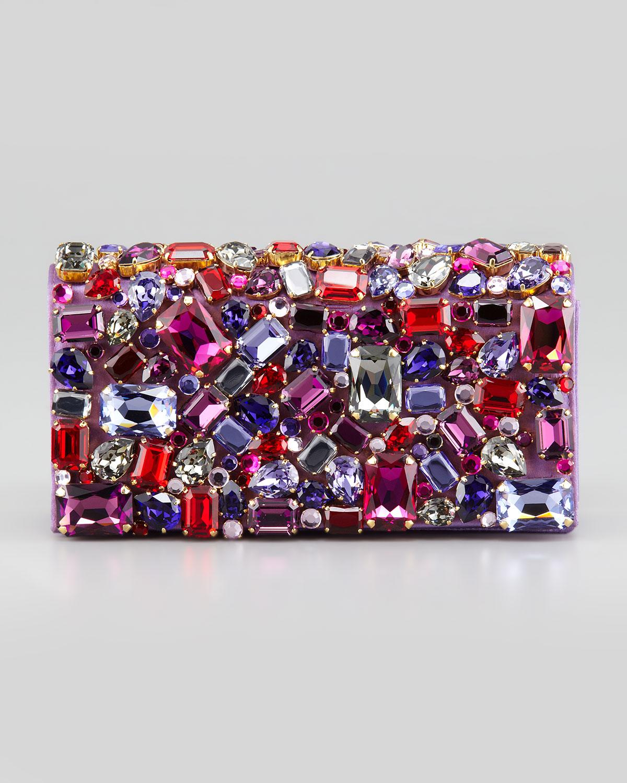 cheapest lyst prada jeweled satin clutch bag in purple 67808 3c425 e23e8f3de15be