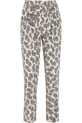 Stella McCartney Christine African Floral Print Silk Tapered Pants - Lyst