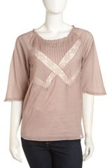 4 Love & Liberty Misty Lace-inset Blouse Painted - Lyst