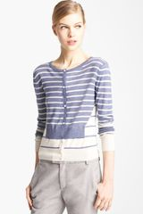 Band Of Outsiders Stripe Cardigan - Lyst