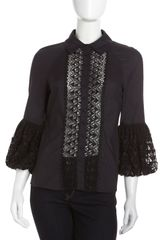 Catherine Malandrino Embroidered Bellcuff Blouse - Lyst