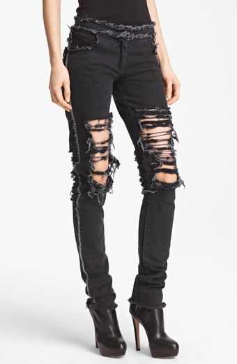 Christopher Kane Skinny Ripped Stretch Jeans - Lyst
