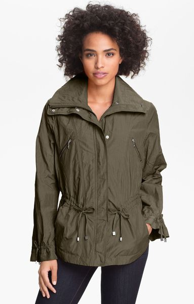 Cole Haan Drawstring Waist Jacket Petite in Green (olive)