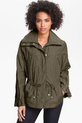 Cole Haan Drawstring Waist Jacket Petite in Green (olive) - Lyst