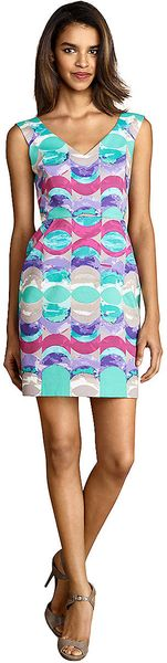 Donna Morgan Geometric Wave Print Dress - Lyst