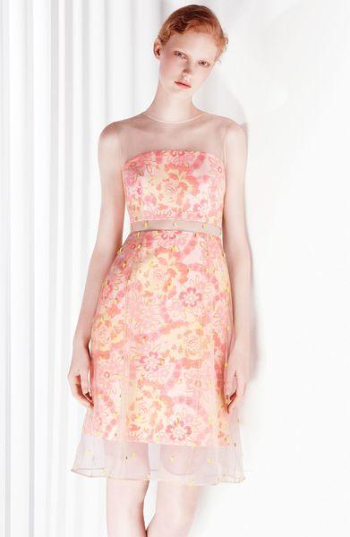 Erdem Damask Jacquard Beaded Organza Dress In Pink Neon