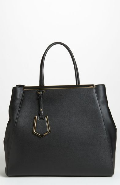 Fendi 2jours Elite Large Leather Shopper in Black - Lyst