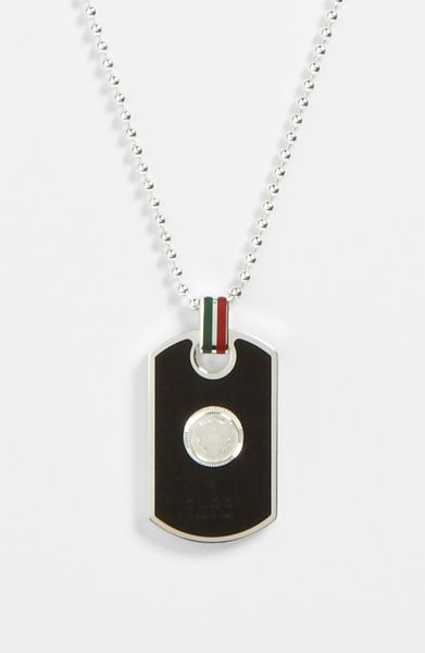 Gucci Enamel Dog Tag Necklace In Silver For Men Black