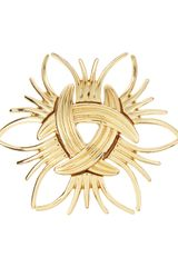 Kenneth Jay Lane Golden Ridged Pin - Lyst