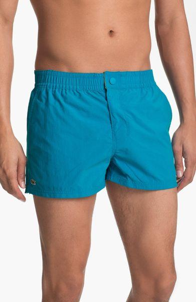 Lacoste Retro Swim Trunks In Blue For Men Mediterranean