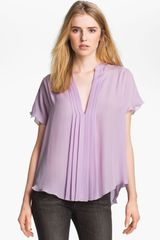 L'Agence Pleated Silk Blouse - Lyst