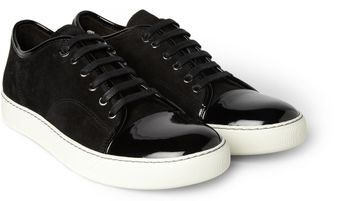 Lanvin Suede and Patentleather Sneakers - Lyst