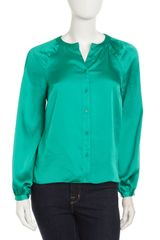 Laundry By Shelli Segal Pleatsleeve Satin Blouse - Lyst